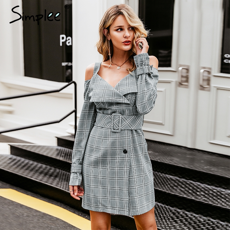 Simplee V neck plaid sash belt women dress Spaghetti strap button office ladies dress Autumn winter female short party dress-in Dresses from Women's Clothing