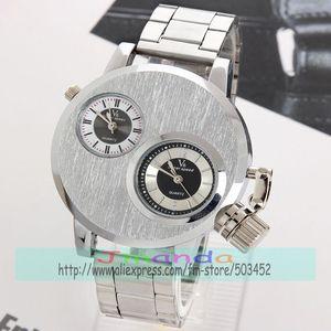 Image 2 - 100 teile/los V6 Silber Stahl Uhr Mode Männer Business Silikon Strap Zwei Bewegung herren uhren top marke luxus