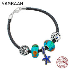 Sambaah 3mm Chain Italian Braided Leather Bracelet with 925 Sterling Silver Ocean Animals Beads for European Summer