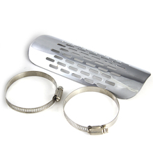 Motorcycle Chrome Exhaust Muffler Pipe Heat Shield Cover Heel Guards With Adjustable Clamps 46mm-70mm For Harley #6574