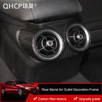QHCP ABS Front Side Rear Row Air Conditioning Vent Outlet Frame Barrel Cover Sticker Carbon Fiber Style For Alfa Romeo Giulia