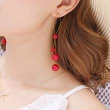 Корейские длинные серьги с красным жемчугом, массивные висячие серьги на цепочке для женщин, модные женские висячие серьги, ювелирное изделие, пирсинг