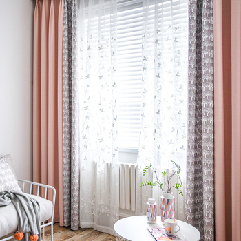 Custom curtains pastoral Nordic livingroom bedroom Pink-gray stitching window cotton cloth blackout curtain tulle yarn M619