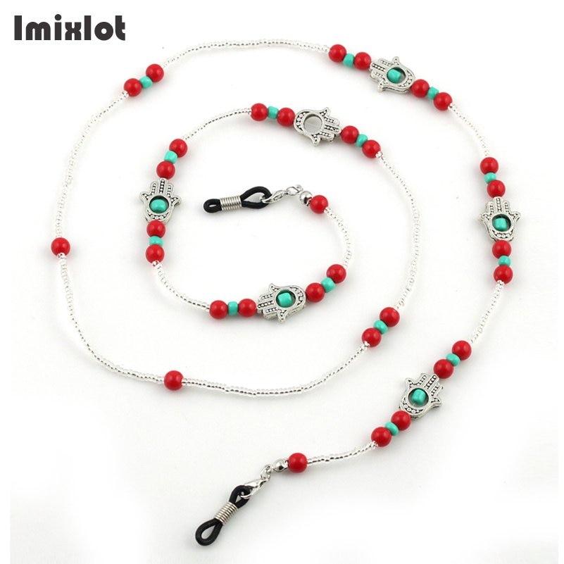 Fashion Hadma Hand Eyeglass Chains Eyewear Accessories Red Beaded Lanyard Cord For Reading Glasses Anti-slip Sunglasses Chain