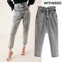 Джинсы с узорами женские с высокой талией однобортные пуговицы вымытые серые джинсы для мамы рваные джинсы для женщин Джинсы бойфренда для ...