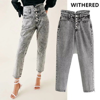 Withered jeans woman high waist single breasted buttons washed grey mom jeans ripped jeans for women boyfriend jeans for women