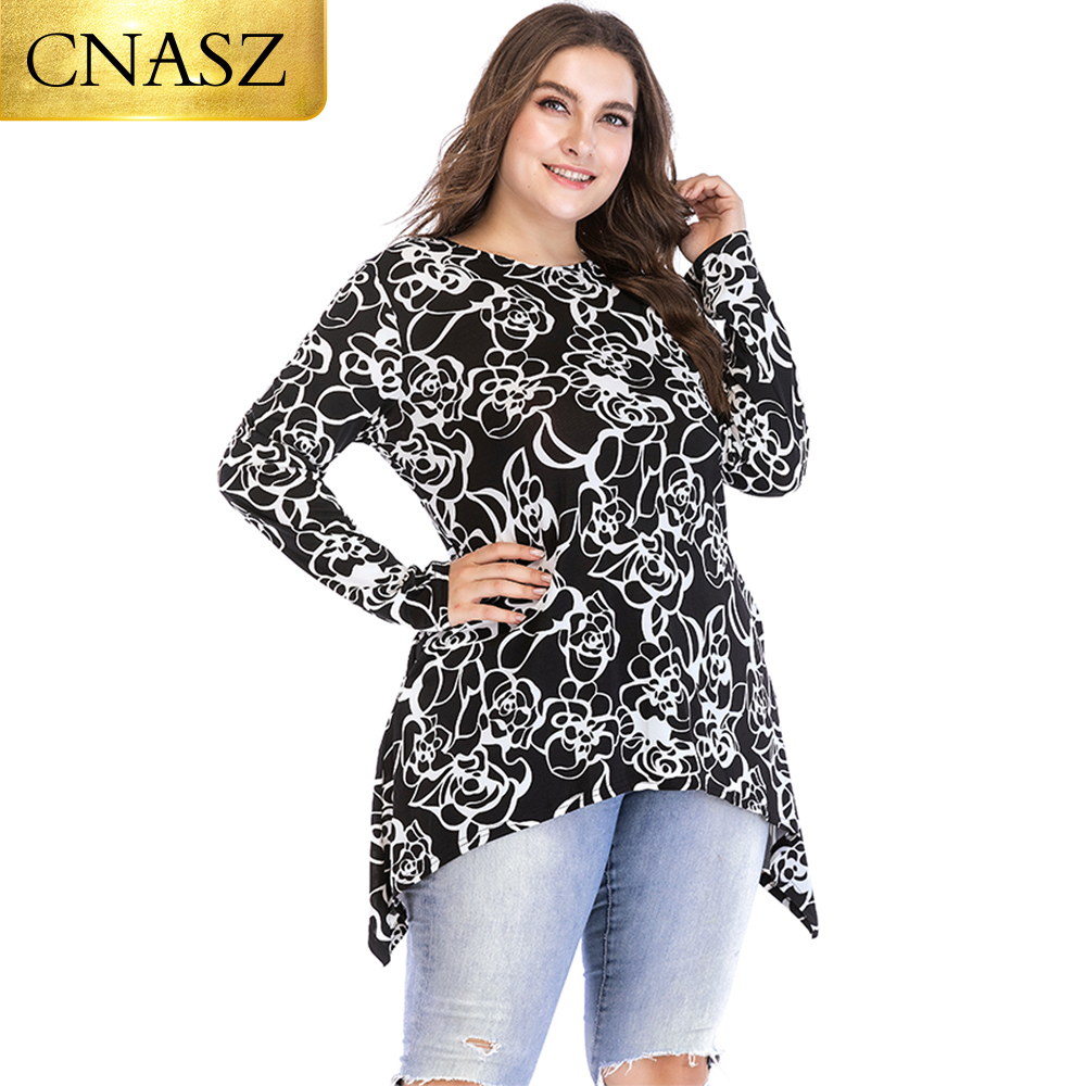 Cheap Black Blouse White Floral Design Long Sleeve Ladies Clothes