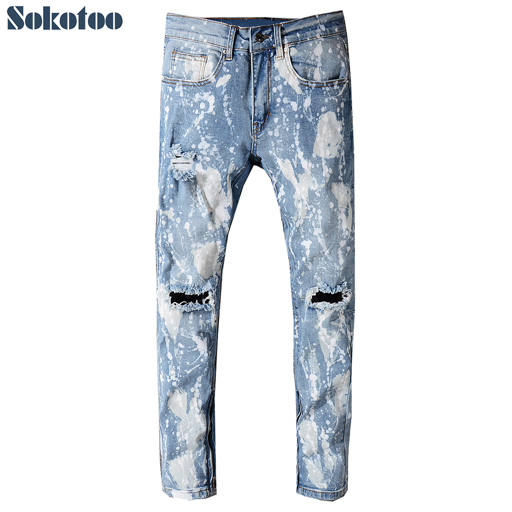 Sokotoo Mens bottom zipper white spots ripped jeans Plus size slim straight holes distressed denim pants