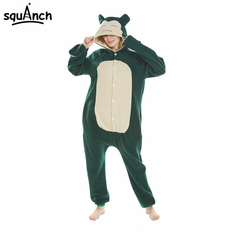 e693866a9 Pokemon Snorlax Kigurumi Onesie Cartoon Anime Pajama Animal Bear Party  Jumpsuit Women Adult Hooded Fancy Green