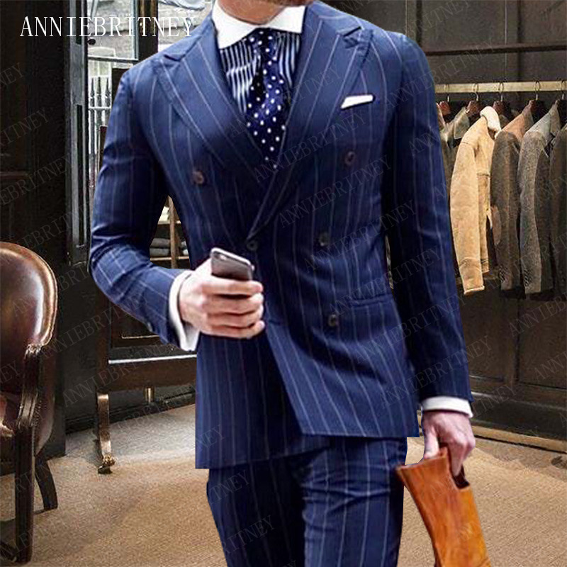 ANNIEBRITNEY Men Wedding Suits 2019 Formal Grey Stripes Printed Tuxedo Man Suit Slim Fit Groom Suits Custom Suit for Men Blazer in Suits from Men 39 s Clothing