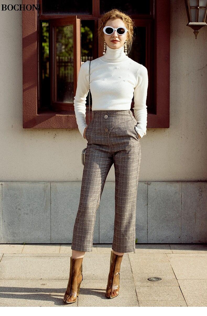 С высоким воротником с длинными рукавами белый джемпер Slim fit Универсальный шерстяной свитер