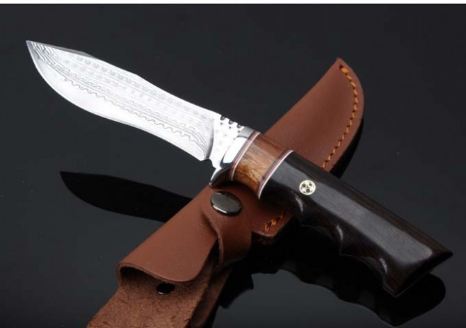 Buy Outdoor Damascus Knives Camp Tactical Fixed Blade Knife Utility Survival Straight Knives Multi Hunting Tools Leather Sheath cheap