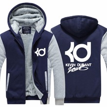 2016 New Arrival Mens Hoodie Kevin Durant Fashion Winter Coat Full Sleeves Plus Size Fleece Jacket