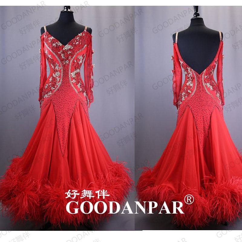 GOODANPAR  Ballroom Dance Dresses Woman Standard Dance Dresses V Neck Long Sleeve Red  Ostrich Feathers  Costume For Lady Grils