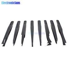 7 sztuk antystatyczna pinceta narzędzie prosto zginać plastikowe odporne na ciepło