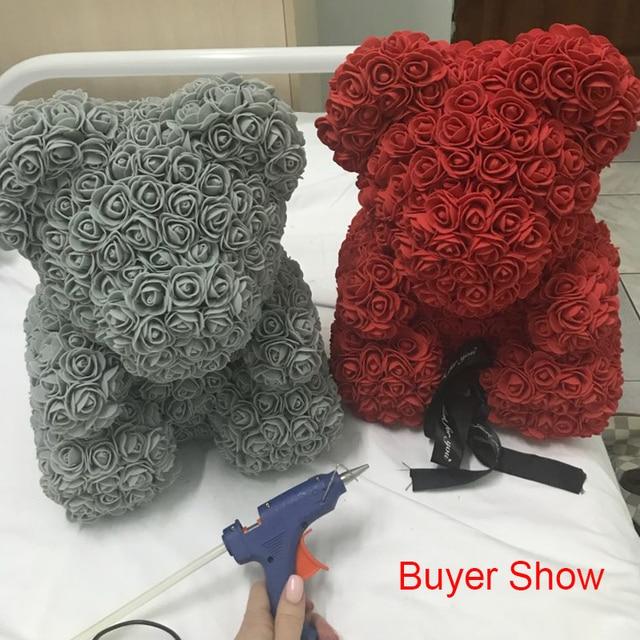 Foam Bear Mold PE Rose Artificial Flower Heads Rose Bear White Mold and Gift Box DIY Rose Bear Accessories Bag 3