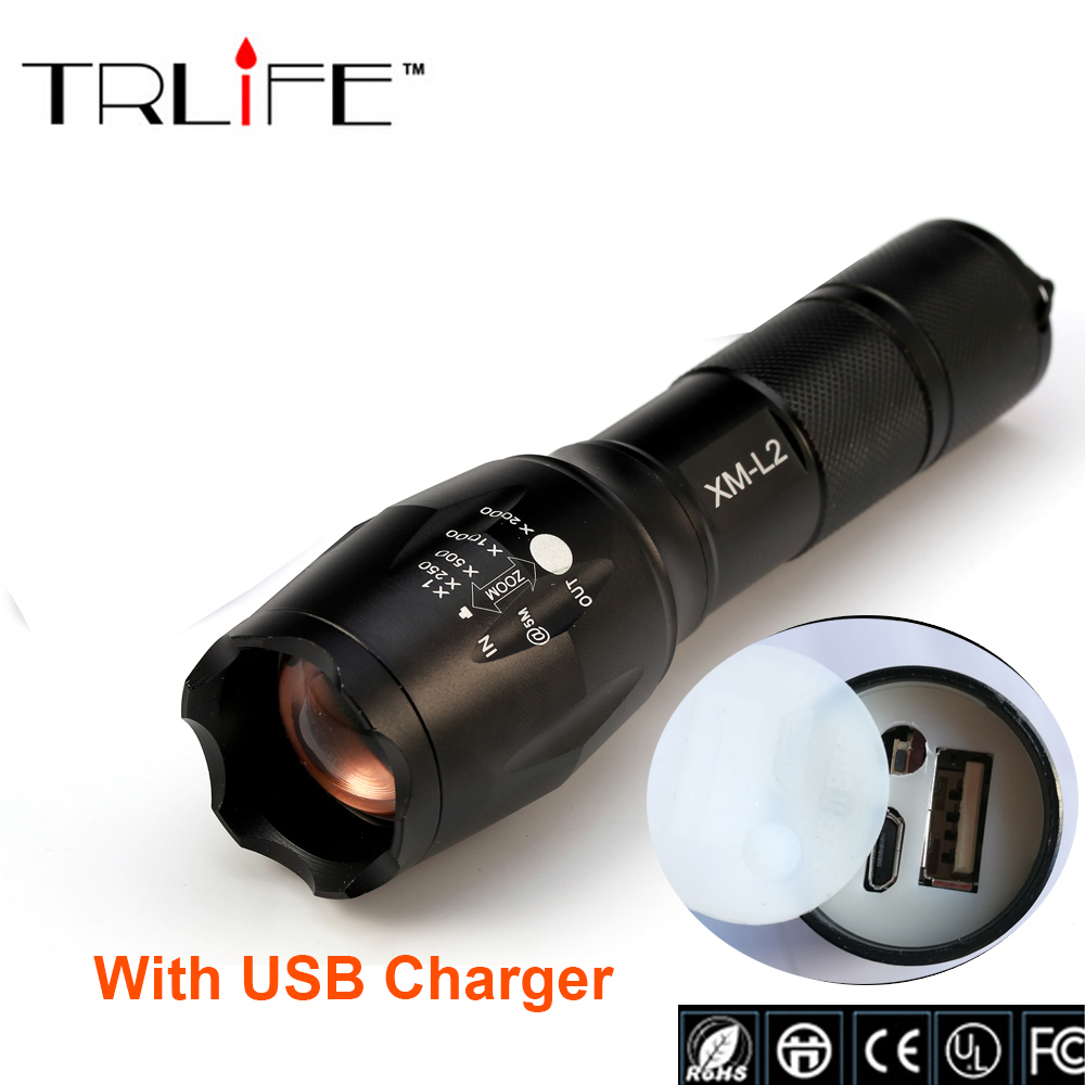 USB E17 8000 Lumens 3-Mode CREE XM-L L2 LED Flashlight Lighting Zoomable Focus Torch W/ Rechargeable Li-Po Battery USB Charger alonefire x800 zoomable xm l2 led flashlight torch lighting defensive tactical flashlight night light 26650 battery charger
