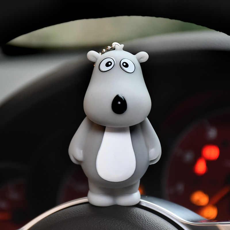 Animal dos desenhos animados backkom urso polar pele pom pom chaveiro corda de couro sinos chaveiro chaveiro chaveiro carro chaveiro pingente presente porte clef