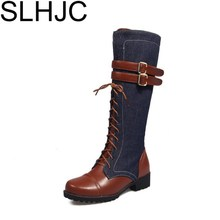 SLHJC Boots Women Knee High Leather Long Low Heel Boots Autumn Square Heel Motorcycle Boot Fashion European Hot Sale