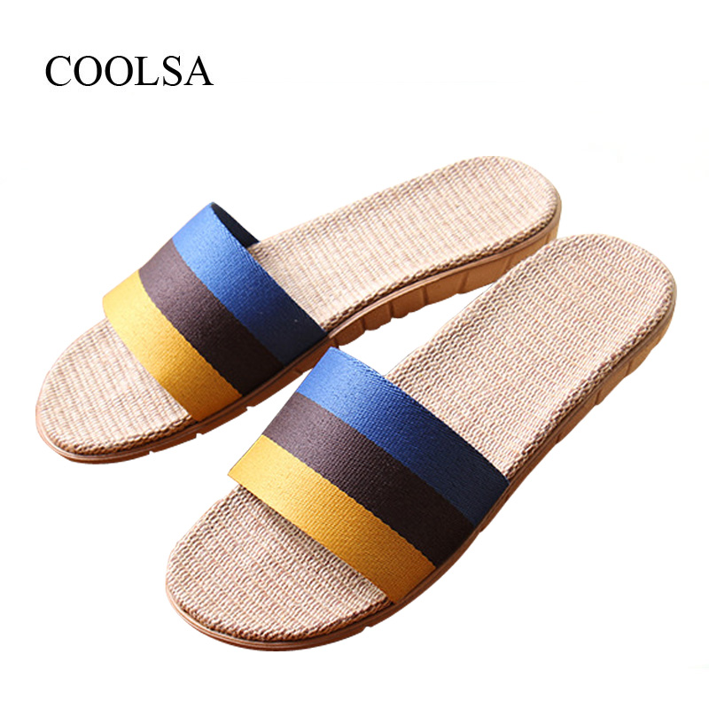 COOLSA Men's Summer New Striped Canvas Linen Slippers Brand Designer Fashion Flax Slippers Men's Breathable Beach Flip Flops Hot coolsa women s summer striped linen slippers breathable indoor non slip flax slippers women s slippers beach flip flops slides