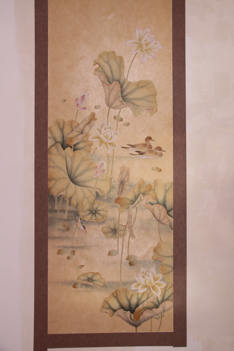 Hand-painted silk wallpaper painting lotus with mandarin duck hand painted wall paper wallcovering many arts/background optional