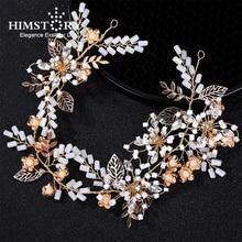 Himstory Gorgeous Gold Wired Crystal Rhinestones Leaf Wedding Hair accessories Hairband Bridal Headband Bridesmaids Jewelry