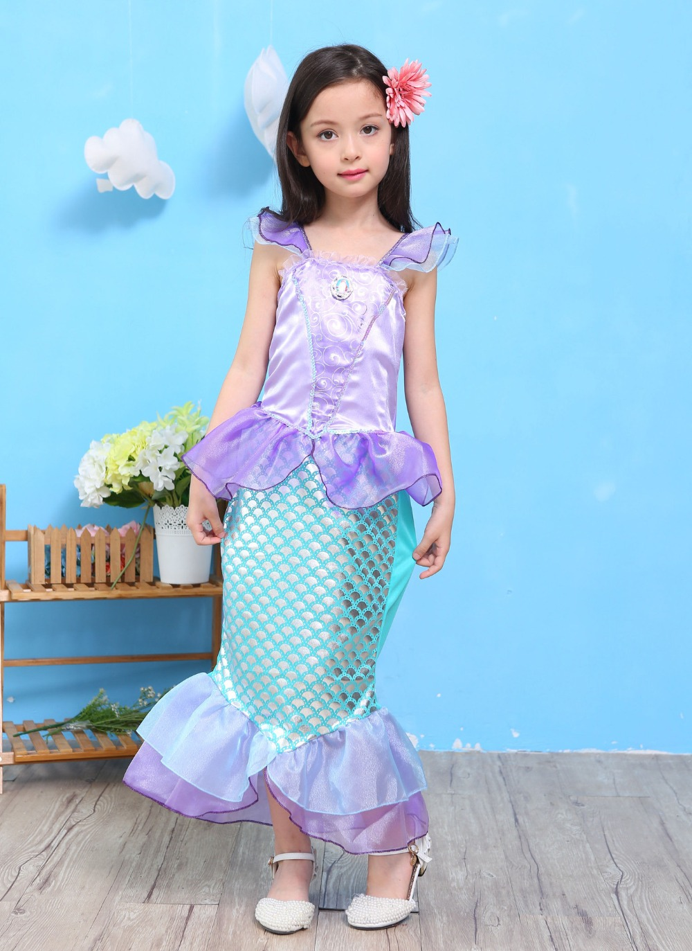 costumes for baby girls princess ariel dress The little Mermaid Ariel princess Cosplay Zeemeerminstaart costume mermaid dress