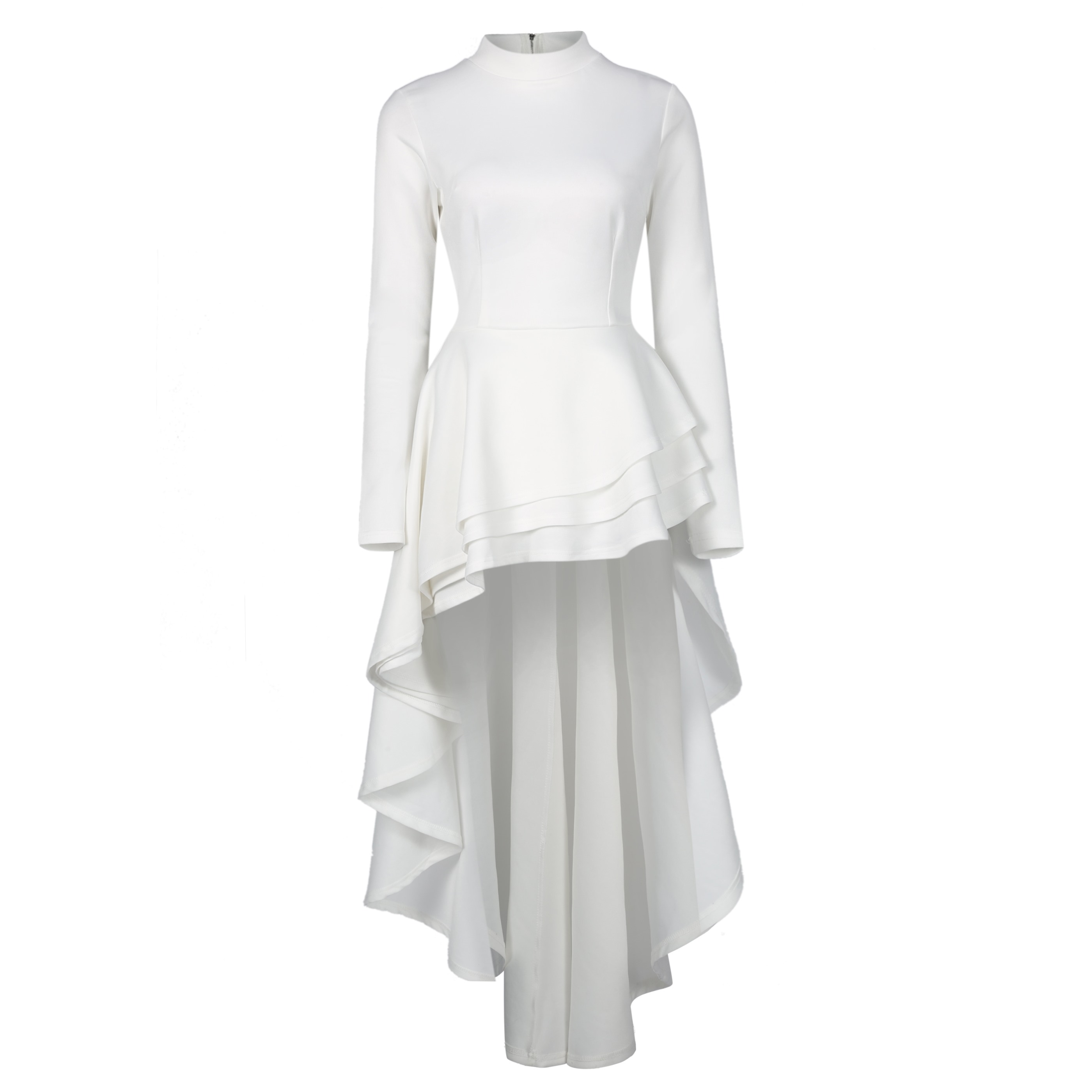 US $27.88 47% OFF|Women Ruffles Asymmetrical Dress Plus Size Long Sleeve  Dress Office Big Size White Black Burgundy Trailing Elegant Party Dress-in  ...