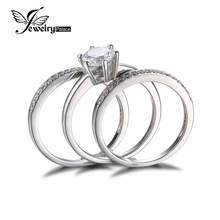 three Items Band Ring Real 925 Sterling Silver Ring Units Prongs Spherical Lower Cubic Zirconia Setting Excellent Engagement Marriage ceremony
