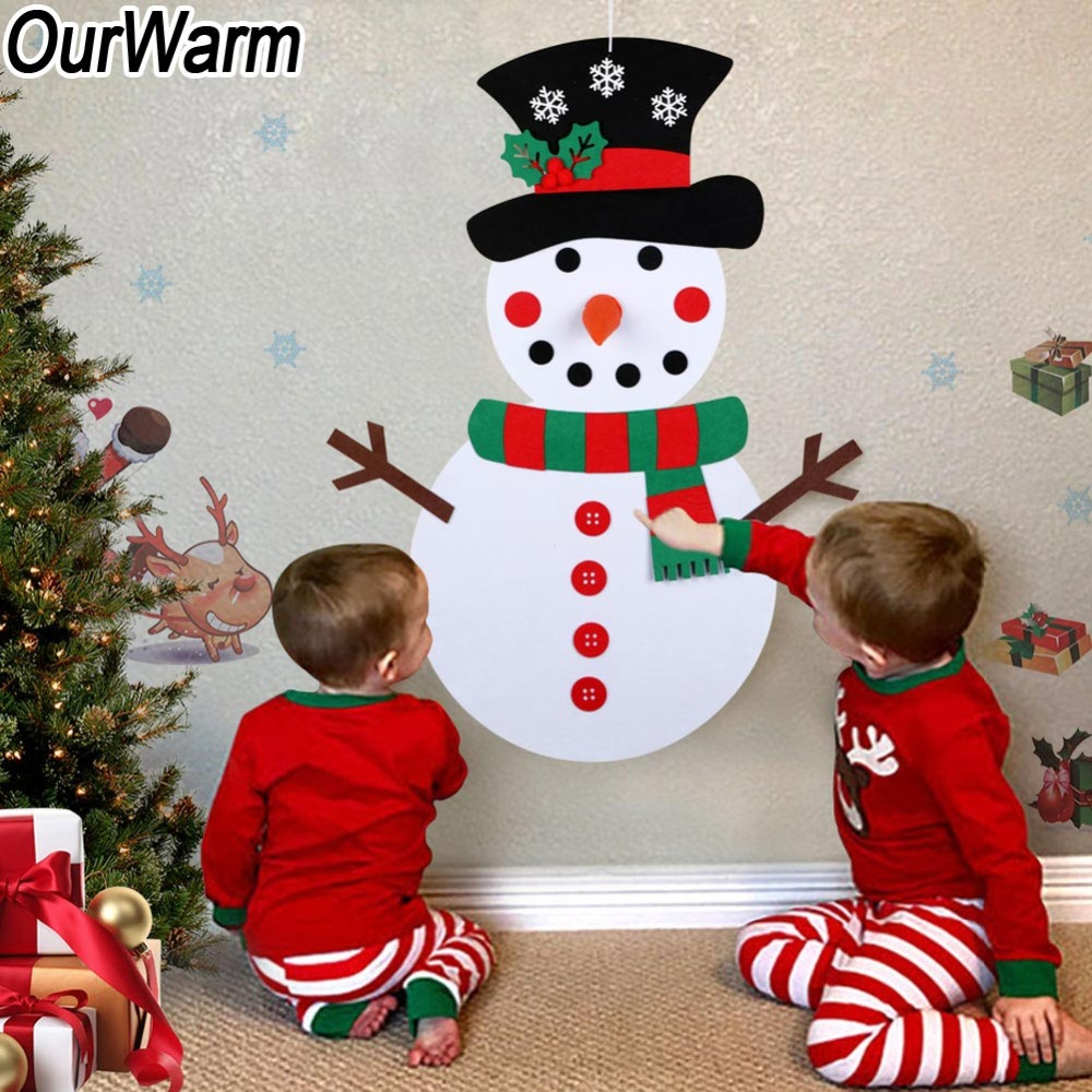 OurWarm Christmas DIY Felt Snowman New Year Gift Kids Toys with Ornaments Door Wall Hanging Kit Christmas Decorations for Home