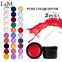 3pcs New Fashion Lvmay UV Gel 48 Colors UV Nail Gel Kit Nail Art Decoration Tips Pure Color Gel UV Nail Art Diy color uv gel  недорого