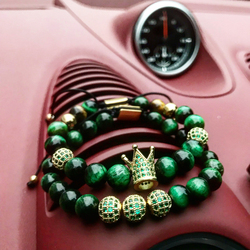 Mcllroy Luxury Charm Bracelet Men Women Crown Ball Pave Setting Zircon Beads Braided Bracelet Bangle Jewelry Gift Erkek Bileklik