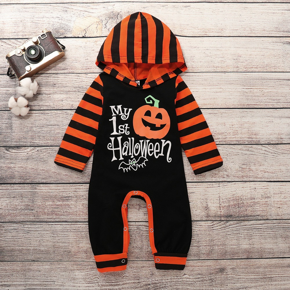 Halloween Infant baby rompers costume Toddler Baby Boys And Girls Pumpkin Hoodie Romper Halloween Clothes Long Sleeve Jumpsuit