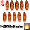 10PCS AMBER Waterproof Side Marker Lights Clearance Lamp Trailer 3 LED 12V