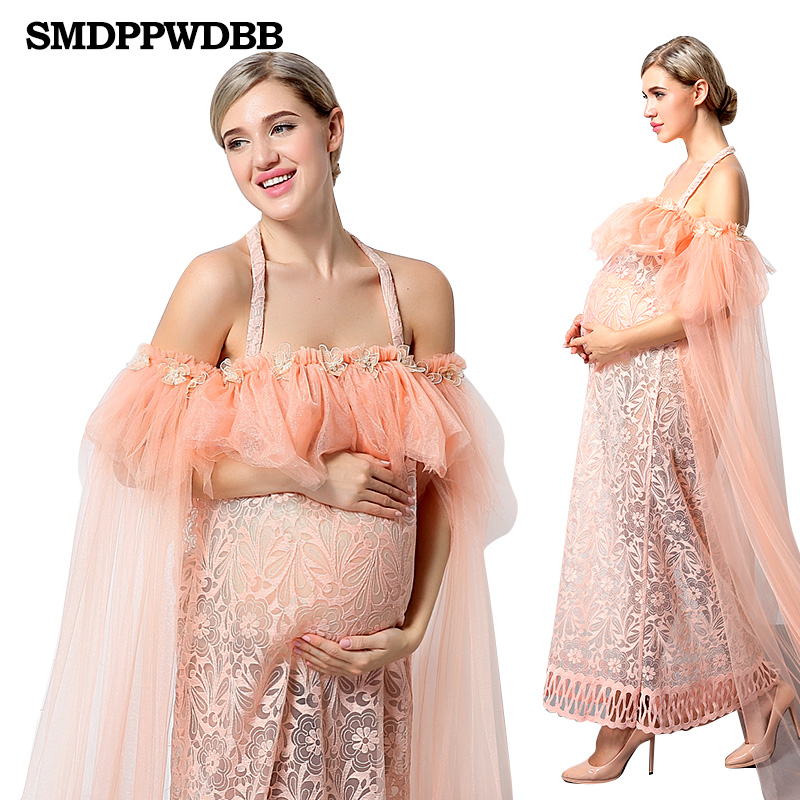 Sexy Pregnant Women dresses Maternity Photography Props Off Shoulder Voile Lace Dress Pregnancy Photo Shoot Long Dresses