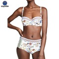 Famosa marca de duas peças biquíni para as mulheres flor impressão do vintage nadar terno cintura alta feminino biquíni 2019 push up buquini brasileiro