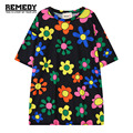 Women T-shirts 2016 Summer Fashion Harajuku Colored Flower Printed T Shirts Casual Loose Tops Short Sleeve Contrast Color Tees