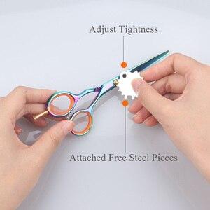 Image 5 - Brainbow 2 sztuk/zestaw 5.5 multi color nożyczki do włosów prawa ręka wycinanie usuwanie fryzjerskie nożyczki Pro Salon narzędzia do stylizacji włosów