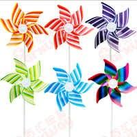 50 ピース送料無料プラスチック風車風車自己アセンブリストライプ風車子供のおもちゃホームガーデン庭の装飾屋外のおもちゃ