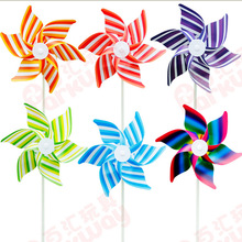 50pcs Free Shipping Plastic Windmill Pinwheel Self-assembly Striped windmill children toys Home Garden Yard Decor Outdoor Toy