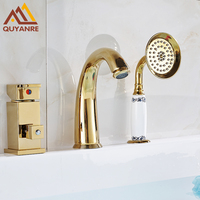 Luxury Golden Finish 3pcs Basin Faucets Three Holes Dual Handles Hot And Cold Water Mixer 3pcs