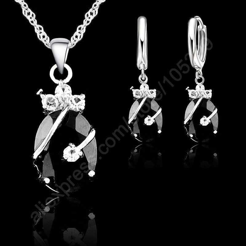 Neue Mode 7 Farben Feine Oval Kristall 925 Sterling Silber Schmuck Set Anhänger Halskette Ohrringe Schmuck Sammlung