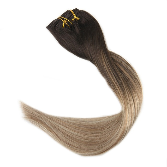 Full Shine 10pcs Balayage Hair Extensions Clip In Remy Human Hair