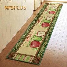 Jacquard Apples Designed Kitchen Floor Mat Cotton Polyester Non-Slip Doormat Rugs Front Door Home Decorative Bathroom Carpet
