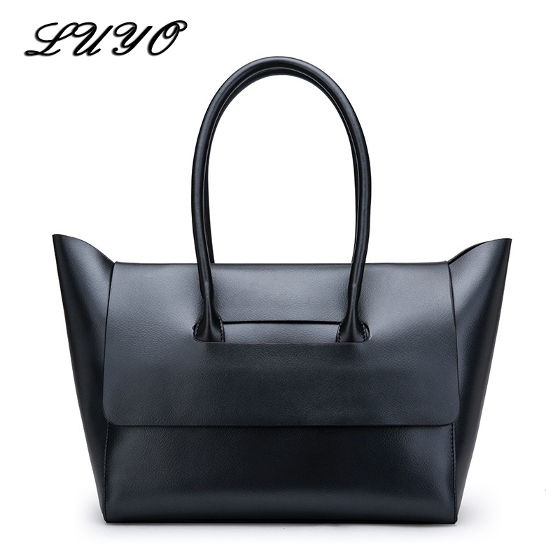 LUYO Genuine Leather Simple Elegant Trapeze Bag Natural Cowhide Female Shoulder Messenger Luxury Handbags Women Bags Designer ishares female three dimensional outer bag handbags sheepskin hand woven natural milled leather pack simple elegant bags is8052