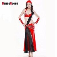 Sirena traje de falda de 5 unidades (head + a pares de guantes + sujetador + dress) bindi bollywood disfraces 34/36/38 trajes de baile para las mujeres
