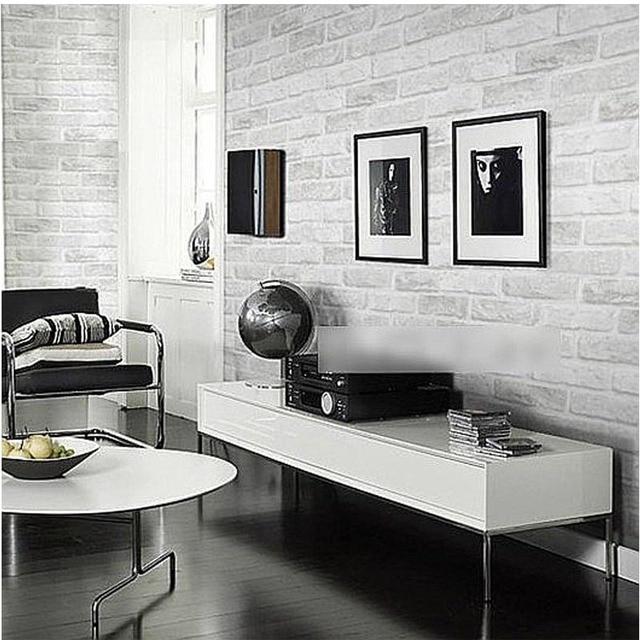 Vintage En Relief Brique Mur Rouleau Moderne Gris Blanc 3D Effet Brique  Papier Peint Pour Mur