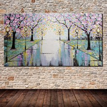 Free Shipping Handpainted Pink Flowers Road Street Lamp Abstract Palette Knife Oil Painting On Canvas Wall Decoration For Home