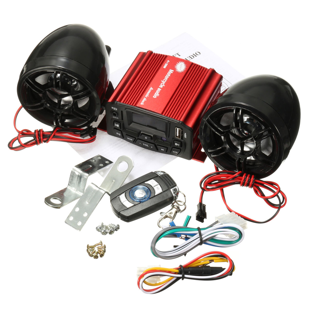 MP3 High power Motorcycle Anti Theft Alarm Remote Control Speaker Sound System Motorcycle Audio
