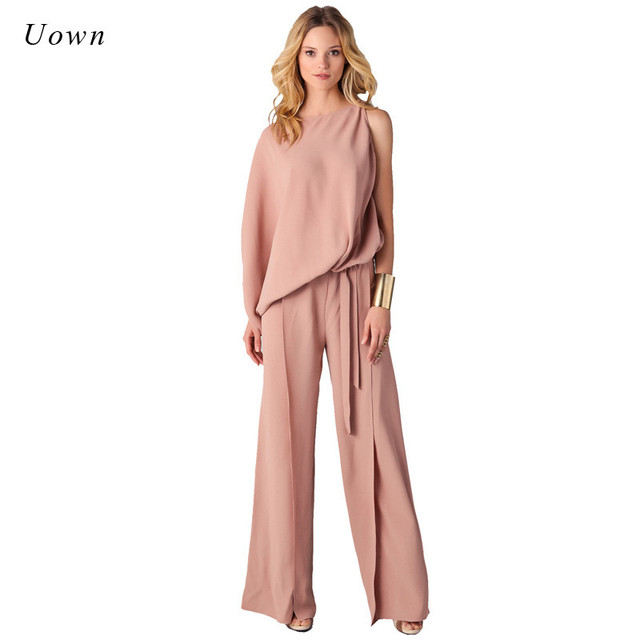 2485770a1972 Long Pants Romper Wide Leg Jumpsuit for Women 2018 Autumn Fashion Long  Sleeve Formal One Piece Ladies Elegant Jumpsuits Overalls